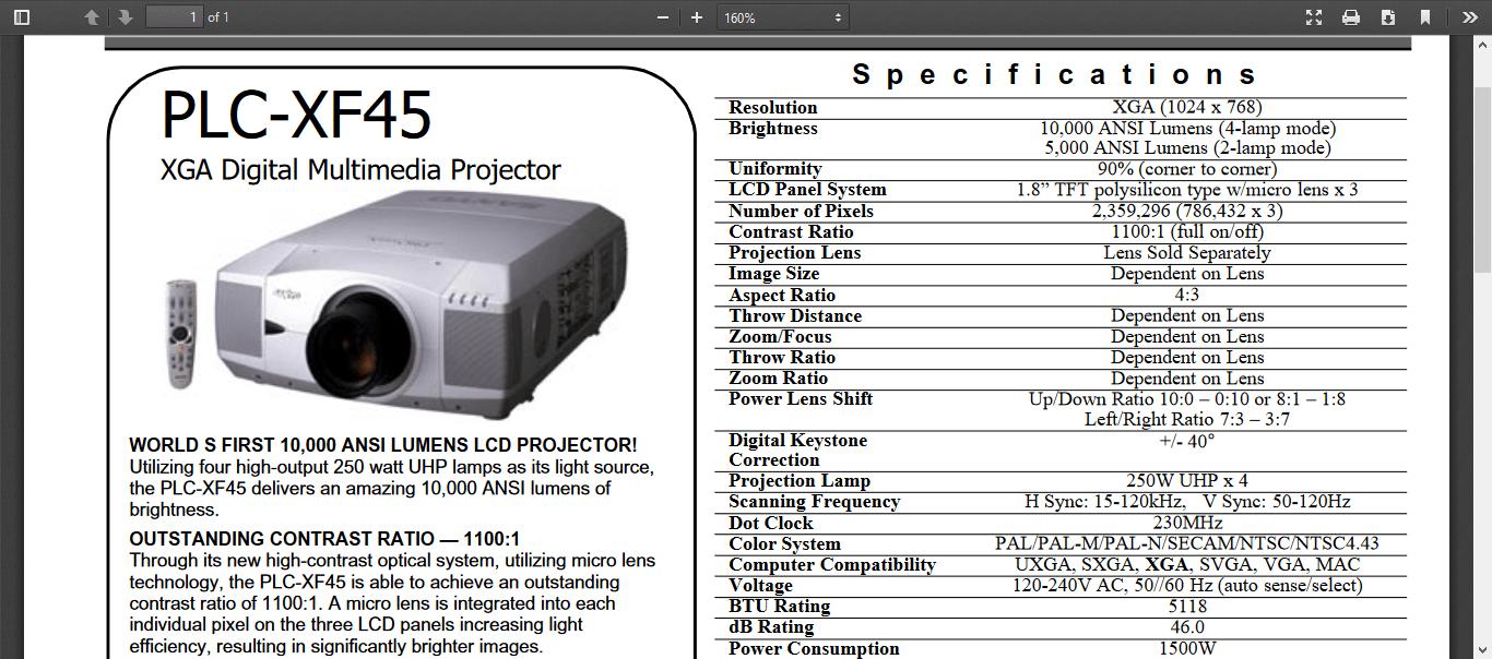 بروجيكتور داتا شو ماركه   Sanyo PLC-XF45    بروجيكتور سانيو   الجهاز يوجد به اربع لمبات   10000 لومين      للحفلات الكبيره Brightness:10,000 Lumens كل المانويل بصيغه   pdf   هنا   User Manual   Product Sheet   تمنه بره مصر 30 الف دولار